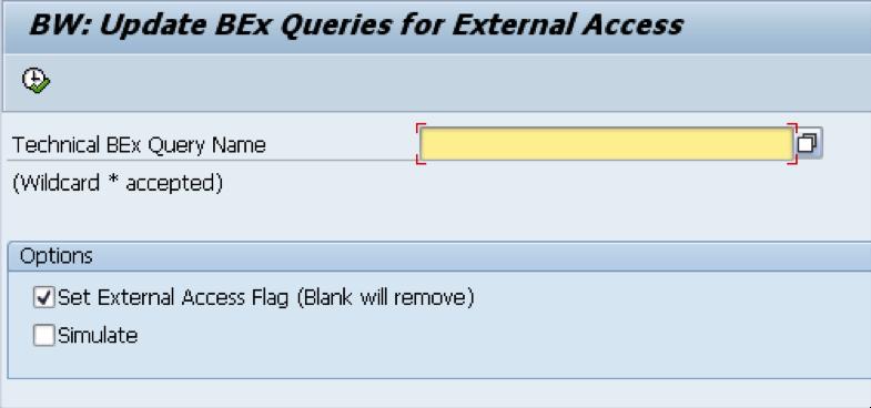 Main screen - Update BEx queries for External Access